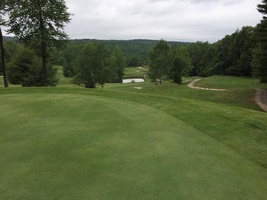 Hinsdale, MA: Bas Ridge Standing on 16th Green looking back across the tee and other holes across the valley