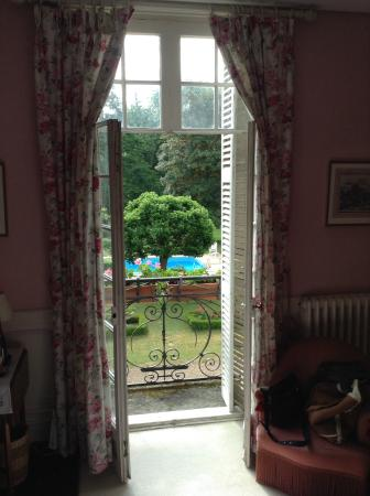 Larcay, França: View from the bedroom of the Roses room, June 2015.