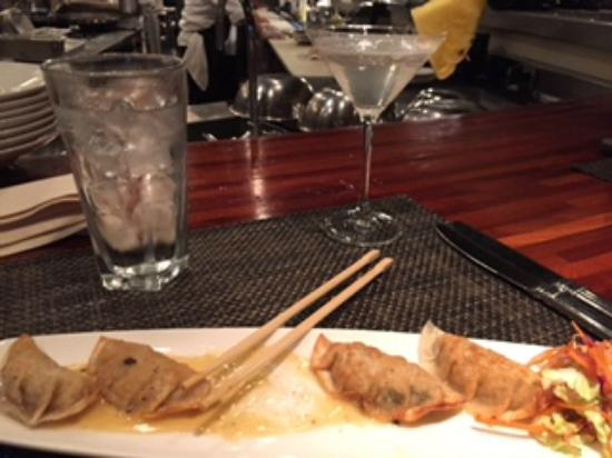 Roy's - Plano: Lobster potstickers and martini