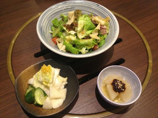 Starter: (From left) Pickles, Japanese Salad & Stewed Daikon