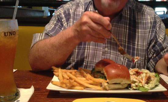 UNO Chicago Grill: Real Lobster chunks in his slider!