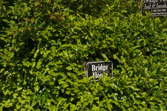 Bridge House Bed and Breakfast: Hedge partly obscures sign.