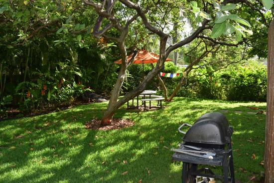 Hale 'Nalo Beach Rentals: Der Garten mit Grill