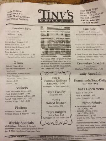 Tiny's Grill: Menus! Read them and go eat at this fabulous place!