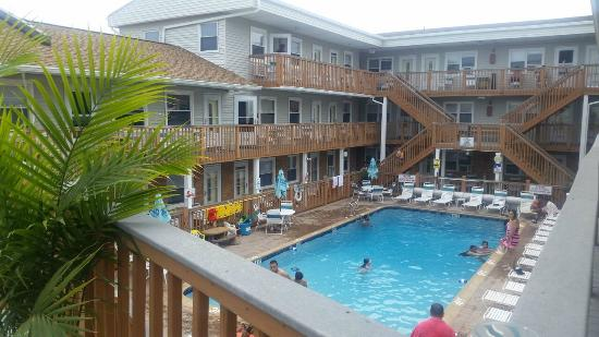 Seaside Best Rentals: View of pool area from 2nd floor