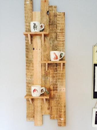Cafe & Deli On The Sands: Pallet shelfs made by a local chap