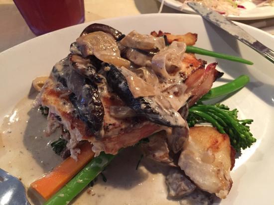 Lucky Pelican: Outstanding - Bacon Wrapped Swordfish Marsala