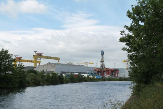 Victoria Park: Harland and Wolff, from the main road.