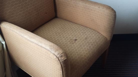 Quality Inn & Suites Airport: Nasty chair in room full of stains.