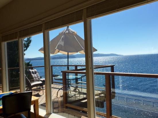 Eagle Cove Beachfront Guest Suites: Gorgeous views from the balcony, lovely suite ��