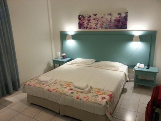 Nissos Thira Hotel: Room and bathroom