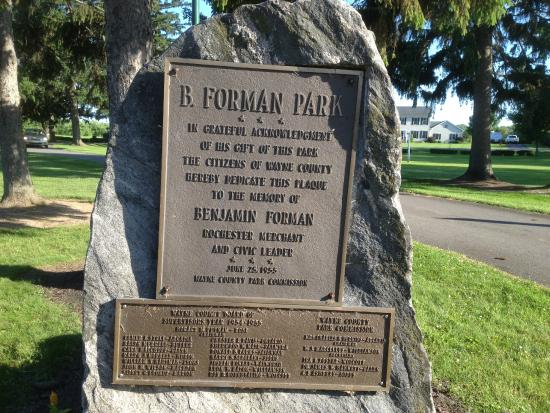 Pultneyville, NY: B. Foreman Park - dedication plaque