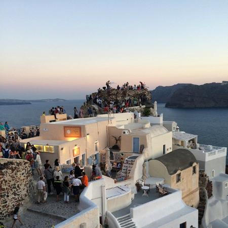 The famous Oia sunset from the castle is 2 minutes away