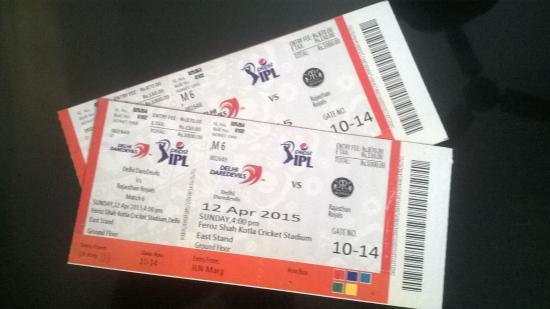 Feroz Shah Kotla Stadium: The tickets for the Match.