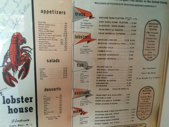 Classic Menu - Picture of The Lobster House, Cape May - TripAdvisor