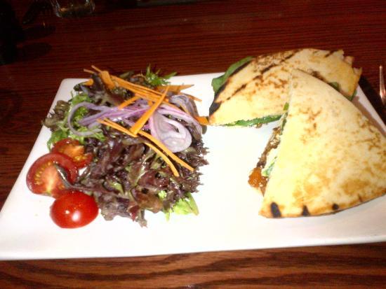 The Church Key Bistro-Pub : Chicken Nan Sandwich with peach chutney and goat cheese