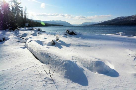 Columbia Falls, MT: Frozen landcape on Lake McDonald.