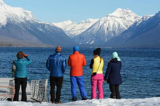 Columbia Falls, MT: Admiring the view of the Livingston Range at Lake McDonald.