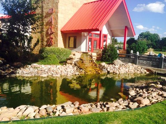 Szechuan Chinese Restaurant : Beautiful building surrounded by koi ponds and water falls.