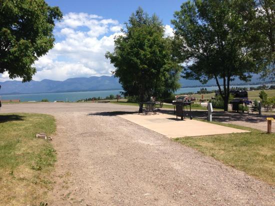 Polson / Flathead Lake KOA: Unoccupied premium site overlooking the lake