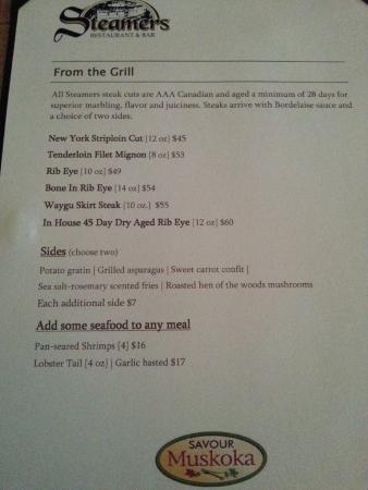 Steamers Steakhouse & Bar: menu