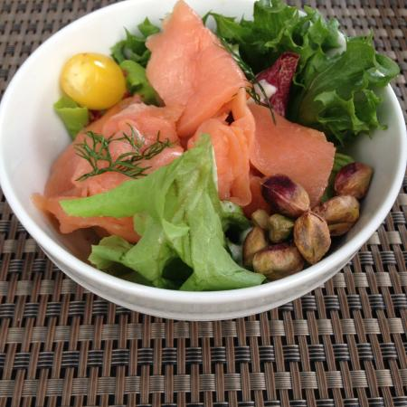 Eve at Hansar Bangkok: Smoked Salmon with bacon and pistachios from buffet
