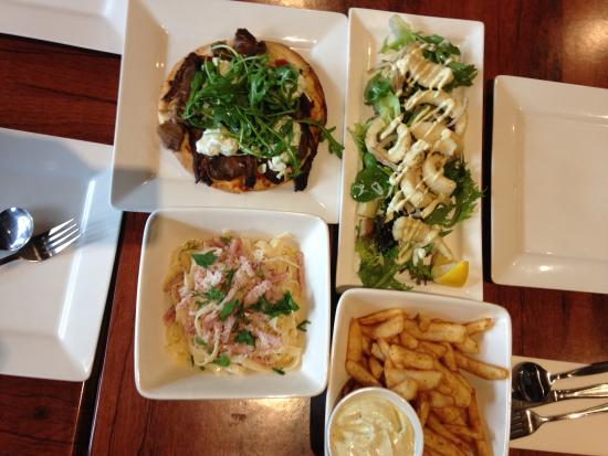 Olinda Cafe : Beer & Battered Chips, Squid, Lamb Pizza, Spaghetti Carbonara