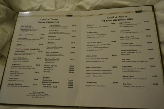 taj hotel menu card pdf