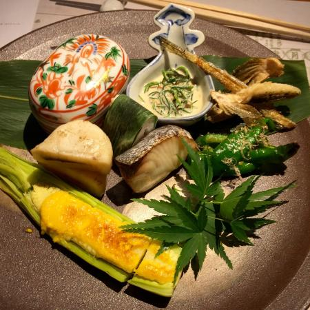 Naniwakappo Kigawa: Course with cooked fish including incredible smoked scallop