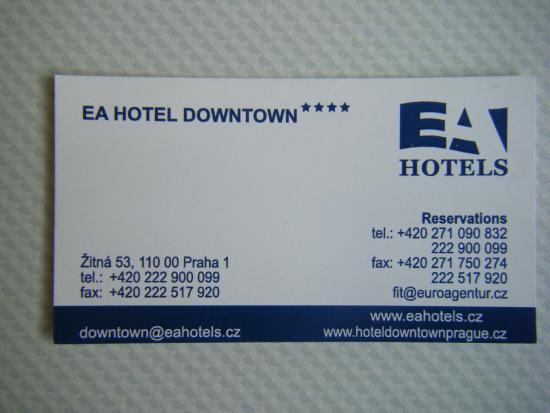 Hotel business card picture of ea hotel downtown prague tripadvisor ea hotel downtown hotel business card colourmoves