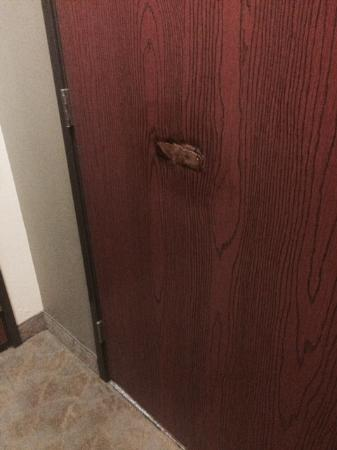 Days Inn & Suites Carbondale: Bathroom Door patch.. very tacky