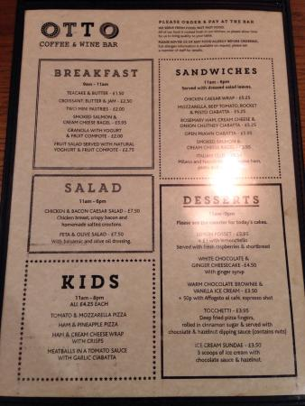 A sample of the current menu on offer