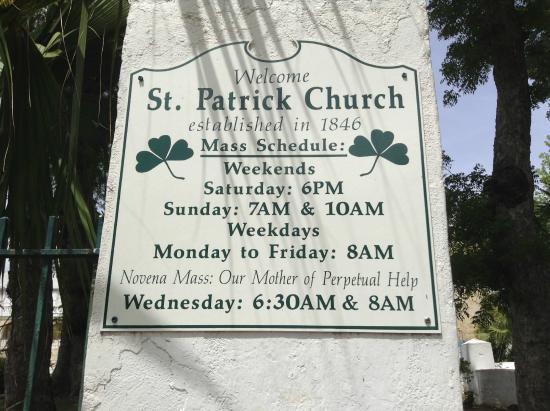 St. Patrick's Catholic Church: Operational hours