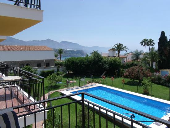 Acapulco Apartments Nerja: balcony view across to hills and med..