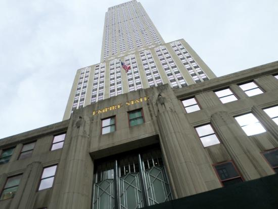 New York Skyride: View of Empire State Building Close up.