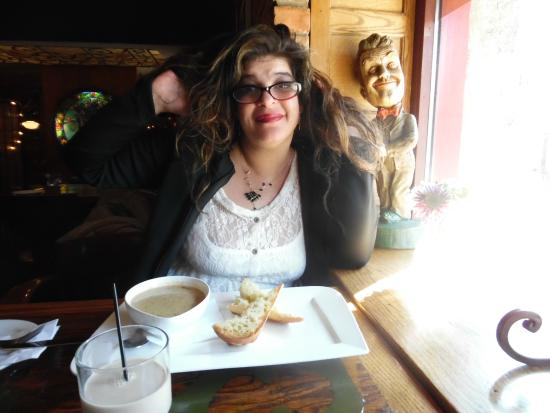 Cafe 13 Main Street: Fluffing hair before eating soup lol