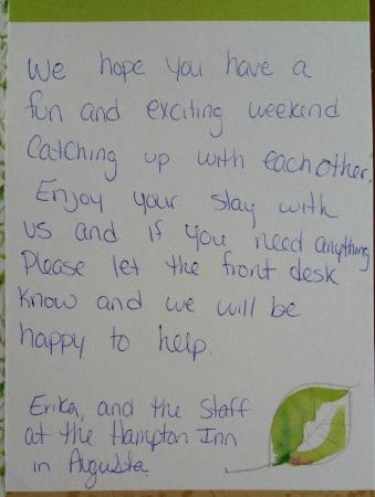 Hampton Inn Augusta: The card from Erika and staff.