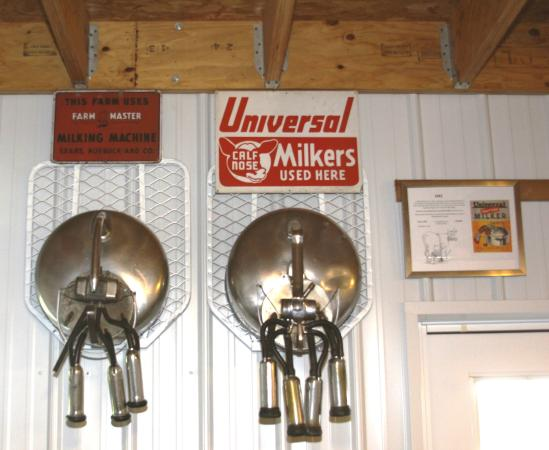 Maysville, MO: Sears Farm Master and Universal suspended bucket milkers