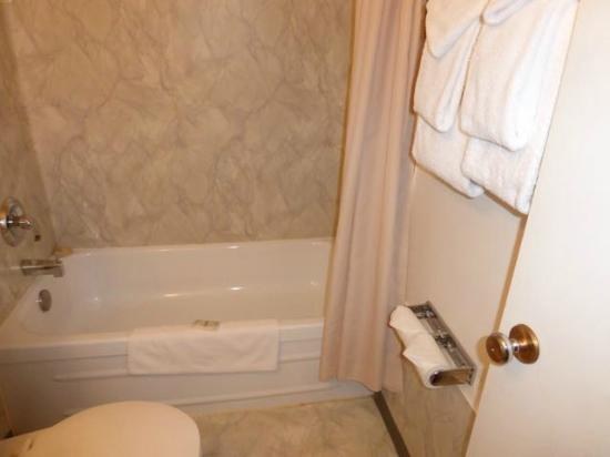 Hitching Post Motel: Tub, shower and towels