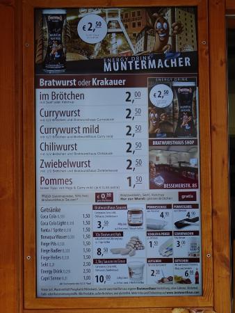 Bratwursthaus: Preisliste 2