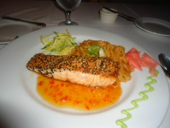 The Prince and the Pauper: Sesame Seared Salmon with a spicy Asian peanut noodle