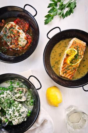 Cositasricas: Salmon citric sauce, cod w/peppers and hake