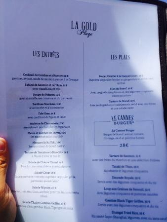 La carte picture of la gold plage cannes tripadvisor for Restaurant le jardin cannes menu