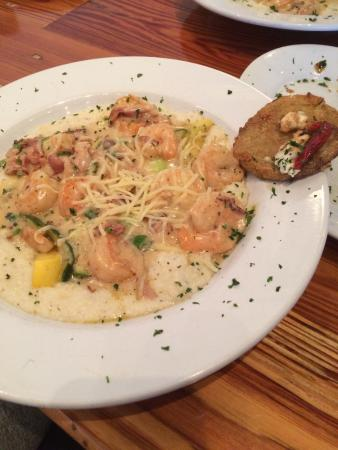 Jonah's Fish & Grits: S & grits with a fried green tomato