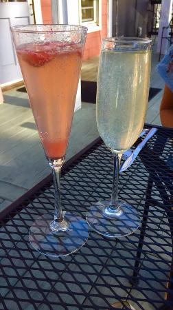 Bread and Circuses: Strawberry champagne and gin champagne cocktails