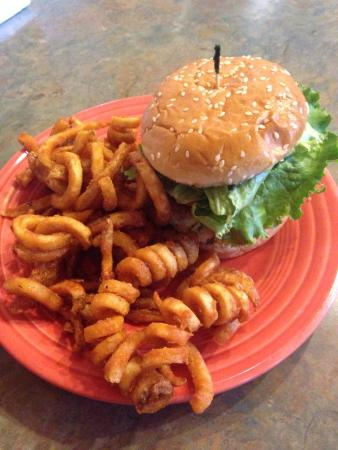 Banner Elk Cafe: Blackened crab cake sandwich with curly fries.