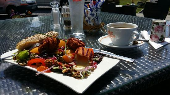 Jim's Coffee House : Fantastic combination fried brie salad with peaches & hazelnuts