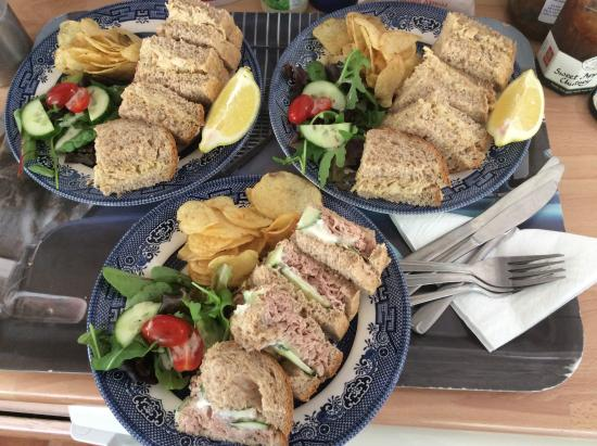 The Captains Cottage: Crab and tuna mayo sandwiches