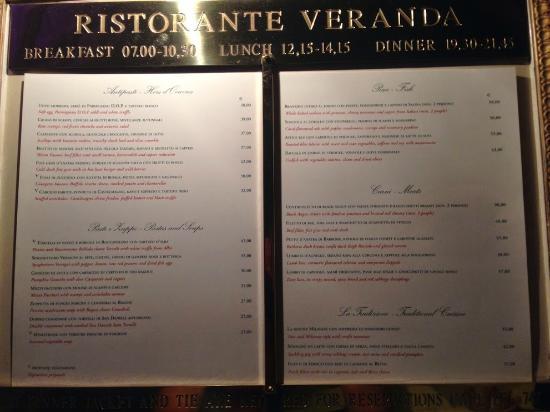 Villa d'Este: menù del ristorante