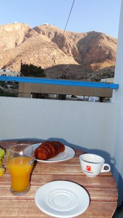 Breakfast on our balcony Lucia Villas